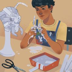 New art: Matías in art class